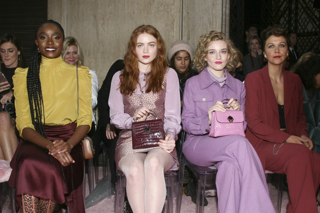 Kiki Layne, from left, Sadie Sink, Julia Garner and Maggie Gyllenhaal attend the NYFW Fall/Winter 2019 Kate Spade fashion show at the Cipriani's on Fr