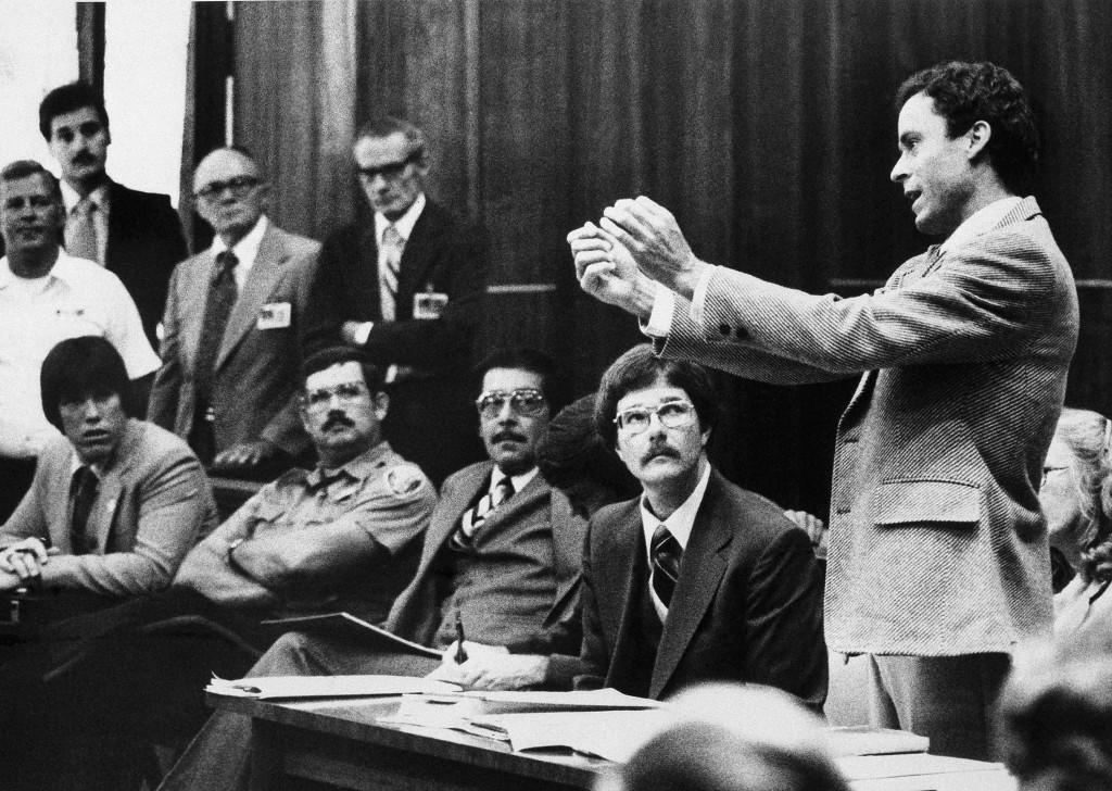 FILE - In this Monday, June 25, 1979 file photo, Ted Bundy presents a motion during his murder trial in Miami. He complained that he could not work on