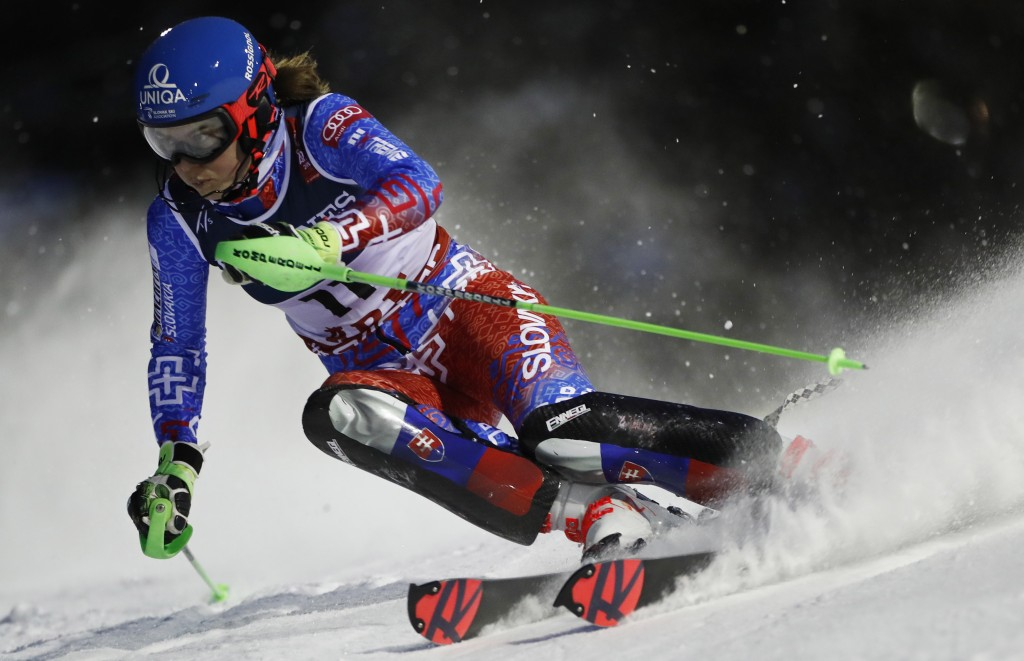 Petra Vlhova speeds down the course during the slalom portion of the women's combined, at the alpine ski World Championships in Are, Sweden, Friday, F