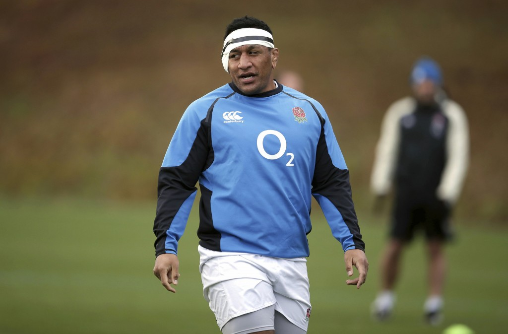 England's Mako Vunipola during a rugby training session in Bagshot, England, Saturday Feb. 9, 2019. England will play France, in the Six Nations Champ