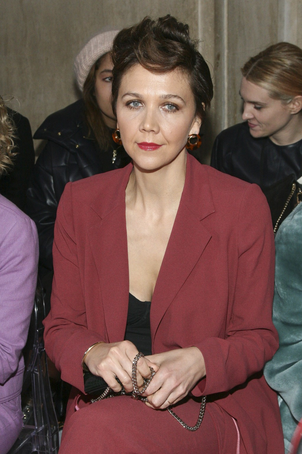 Maggie Gyllenhaal attends the NYFW Fall/Winter 2019 Kate Spade fashion show at the Cipriani's on Friday, Feb. 8, 2019, in New York. (Photo by Andy Kro