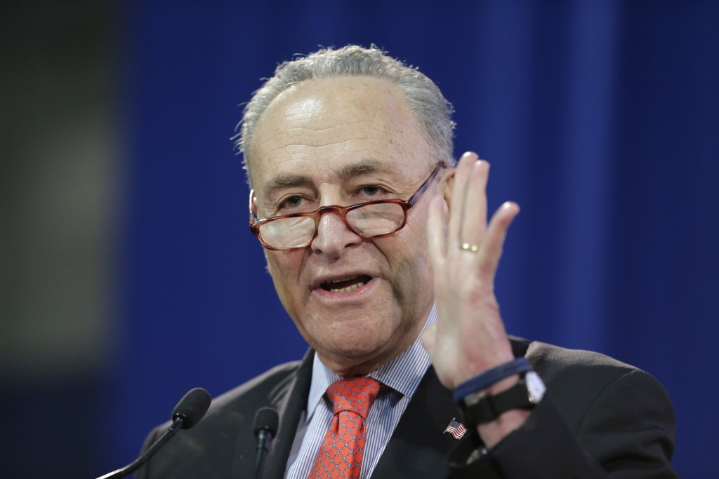 FILE - In this Sunday, Jan. 6, 2019 file photo, U.S. Senator Chuck Schumer speaks during an inauguration ceremony for the new Attorney General of New