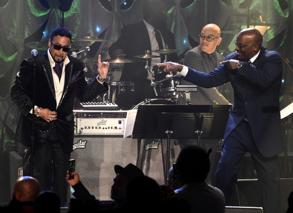 Morris Day, left, and Jerome Benton perform at the Pre-Grammy Gala And Salute To Industry Icons at the Beverly Hilton Hotel on Saturday, Feb. 9, 2019,