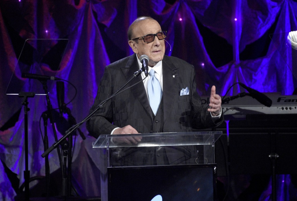 Clive Davis speaks at the Pre-Grammy Gala And Salute To Industry Icons at the Beverly Hilton Hotel on Saturday, Feb. 9, 2019, in Beverly Hills, Calif.