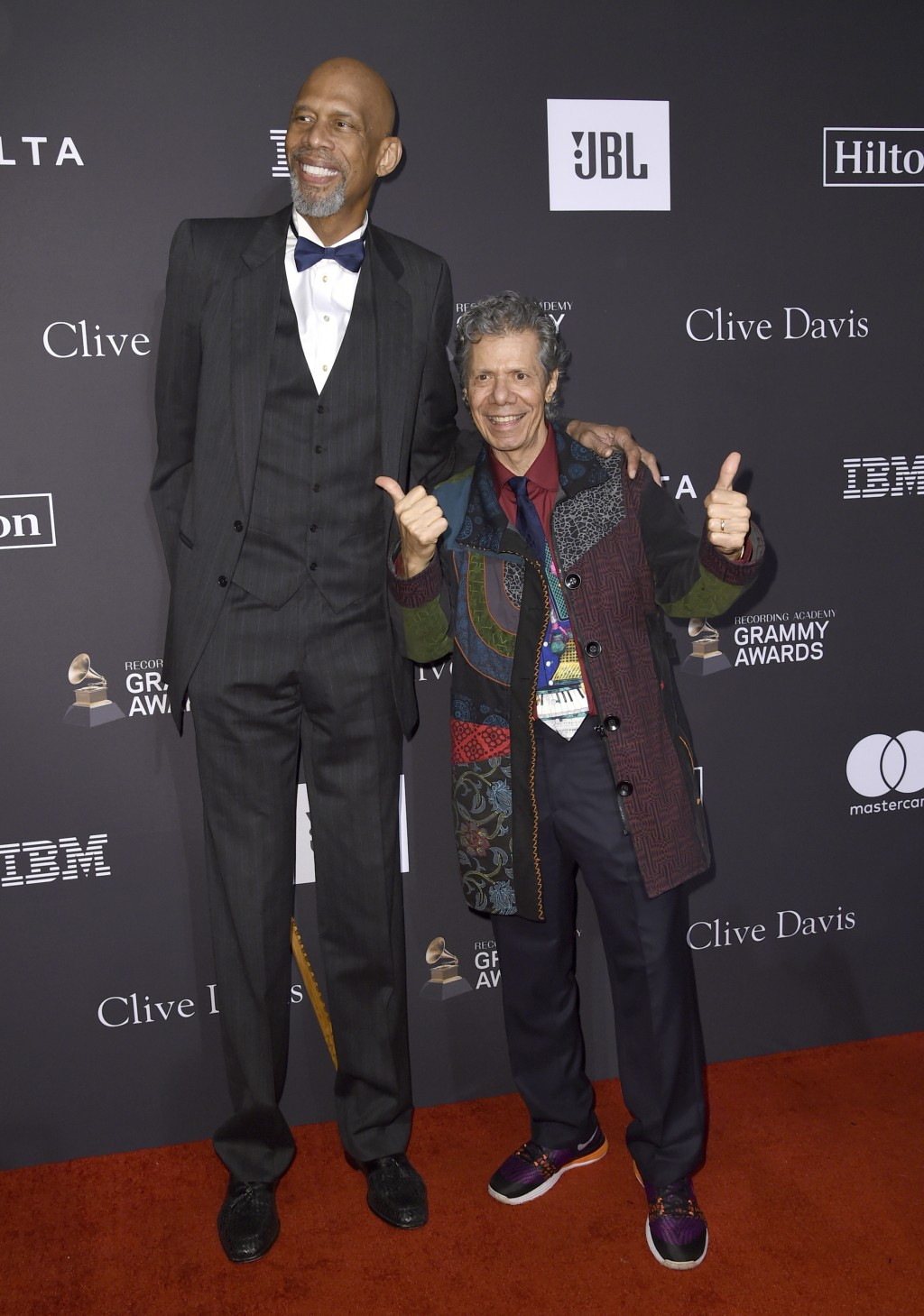 Kareem Abdul-Jabbar, left, and Chick Corea arrive at the Pre-Grammy Gala And Salute To Industry Icons at the Beverly Hilton Hotel on Saturday, Feb. 9,