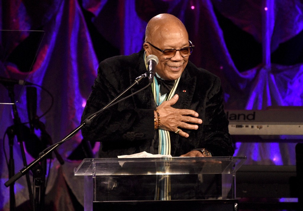 Quincy Jones speaks at the Pre-Grammy Gala And Salute To Industry Icons at the Beverly Hilton Hotel on Saturday, Feb. 9, 2019, in Beverly Hills, Calif