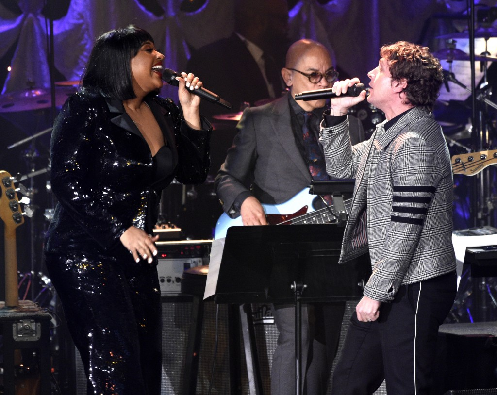 Jazmine Sullivan, left, and Rob Thomas perform at the Pre-Grammy Gala And Salute To Industry Icons at the Beverly Hilton Hotel on Saturday, Feb. 9, 20