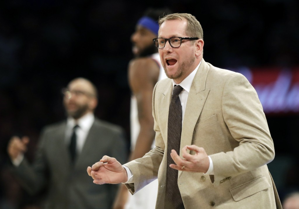 Toronto Raptors head coach Nick Nurse reacts to a call during the first half of an NBA basketball game against the New York Knicks, Saturday, Feb. 9, ...