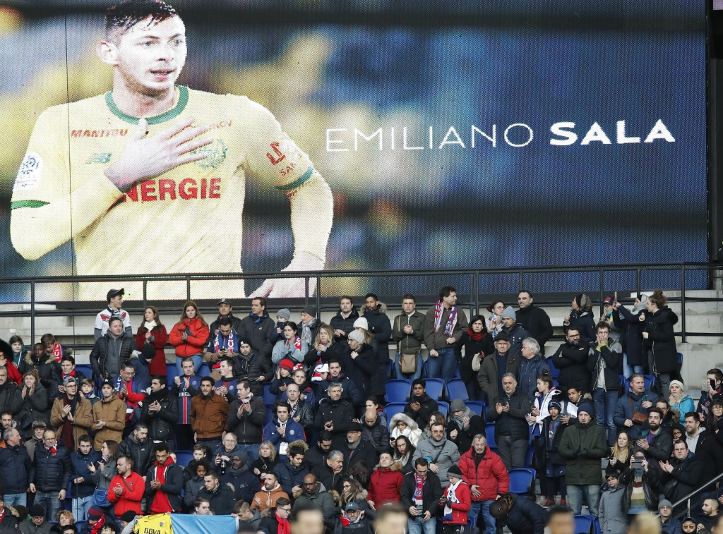 Tributes are paid to Emiliano Sala ahead of the French League One soccer match between Paris Saint-Germain and Bordeaux at the Parc des Princes stadiu...