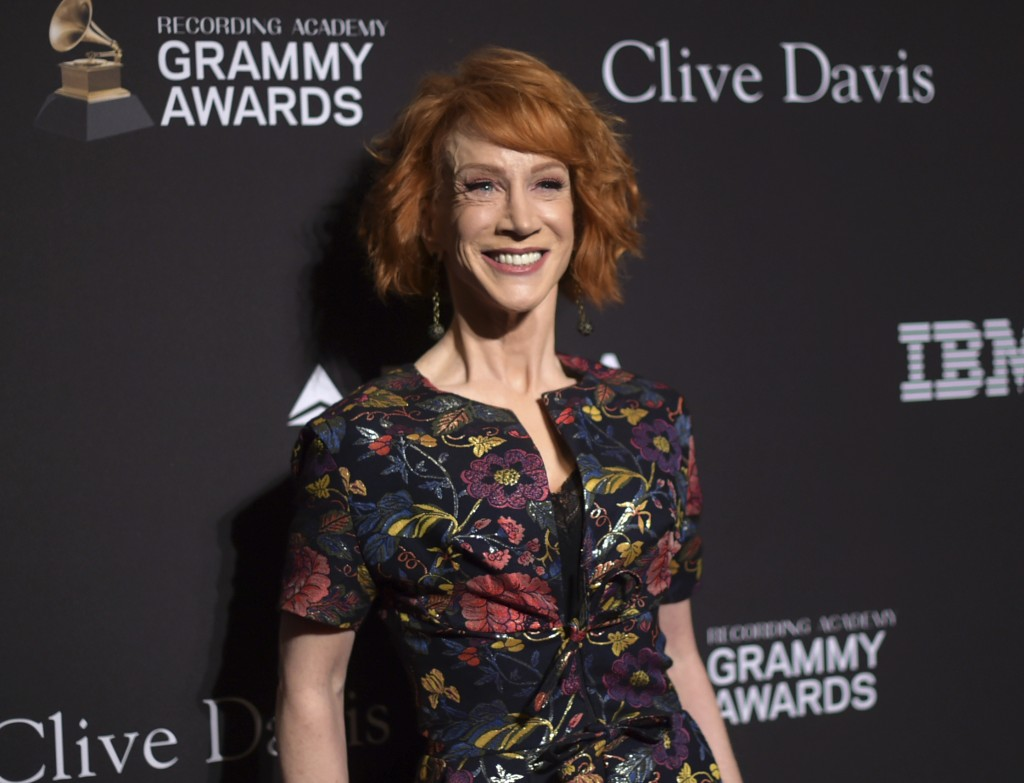Kathy Griffin arrives at the Pre-Grammy Gala And Salute To Industry Icons at the Beverly Hilton Hotel on Saturday, Feb. 9, 2019, in Beverly Hills, Cal
