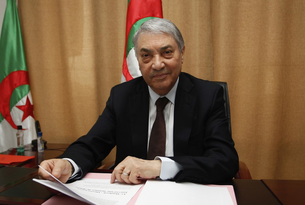 FILE - In this March 29, 2018 file photo, former Algerian Prime Minister Ali Benflis talks to the Associated Press in Algiers. More than 180 people wa...