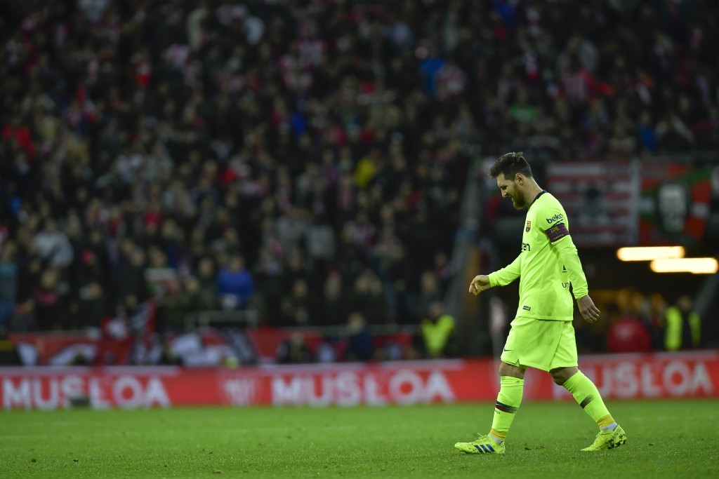 FC Barcelona's Leonel Messi, leaves the pitch at the end of the match during the Spanish La Liga soccer match between Athletic Bilbao and FC Barcelona