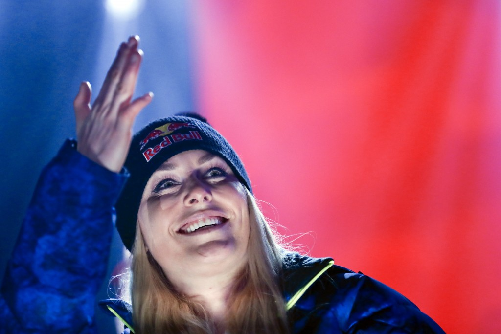 Third placed United States' Lindsey Vonn poses during the medal ceremony for the women's downhill race at the alpine ski World Championships in Are, S
