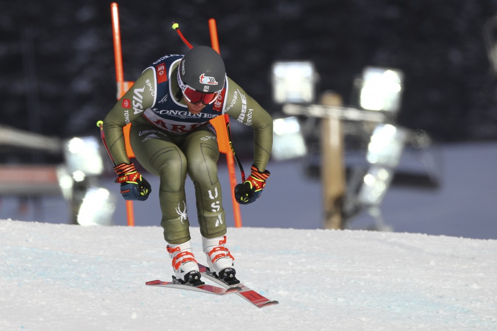United States' Ryan Cochran Siegle speeds down the course during the downhill portion of the men's combined, at the alpine ski World Championships in
