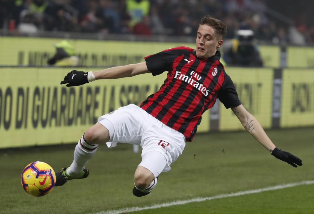 AC Milan?s Andrea Conti kicks the ball during the Serie A soccer match between AC Milan and Cagliari at the San Siro stadium, in Milan, Italy, Sunday,...