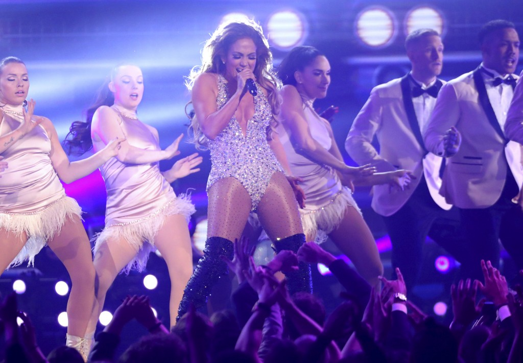 Jennifer Lopez performs a medley during a tribute to Motown's 60th anniversary at the 61st annual Grammy Awards on Sunday, Feb. 10, 2019, in Los Angel