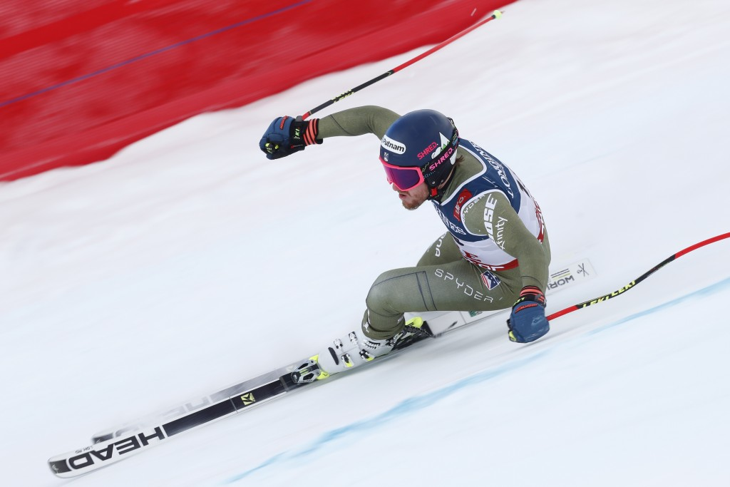 United States' Ted Ligety speeds down the course during the downhill portion of the men's combined, at the alpine ski World Championships in Are, Swed...