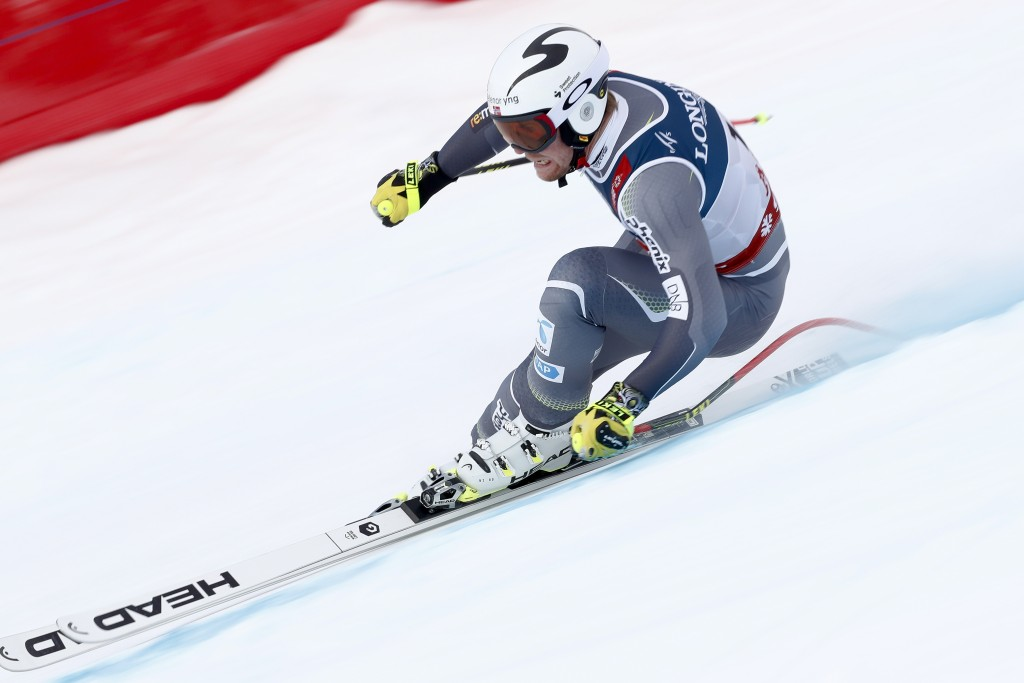 Norway's Aleksander Aamodt Kilde speeds down the course during the downhill portion of the men's combined, at the alpine ski World Championships in Ar