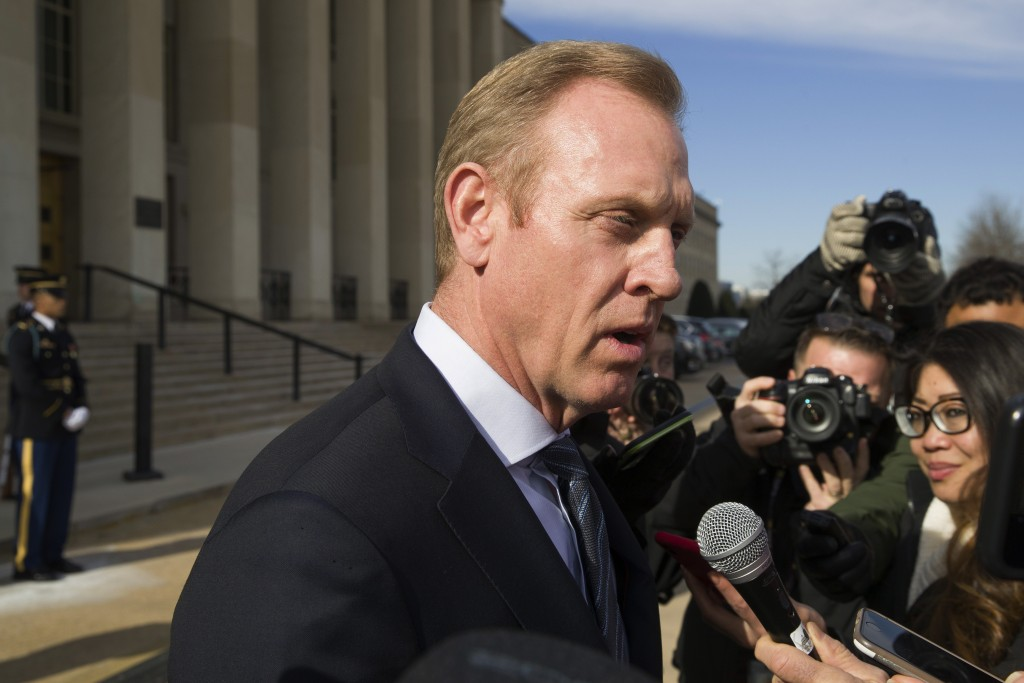 FILE - In this Jan. 28, 2019, file photo, acting Defense Secretary Pat Shanahan speaks with the media as he waits for the arrival of NATO Secretary Ge