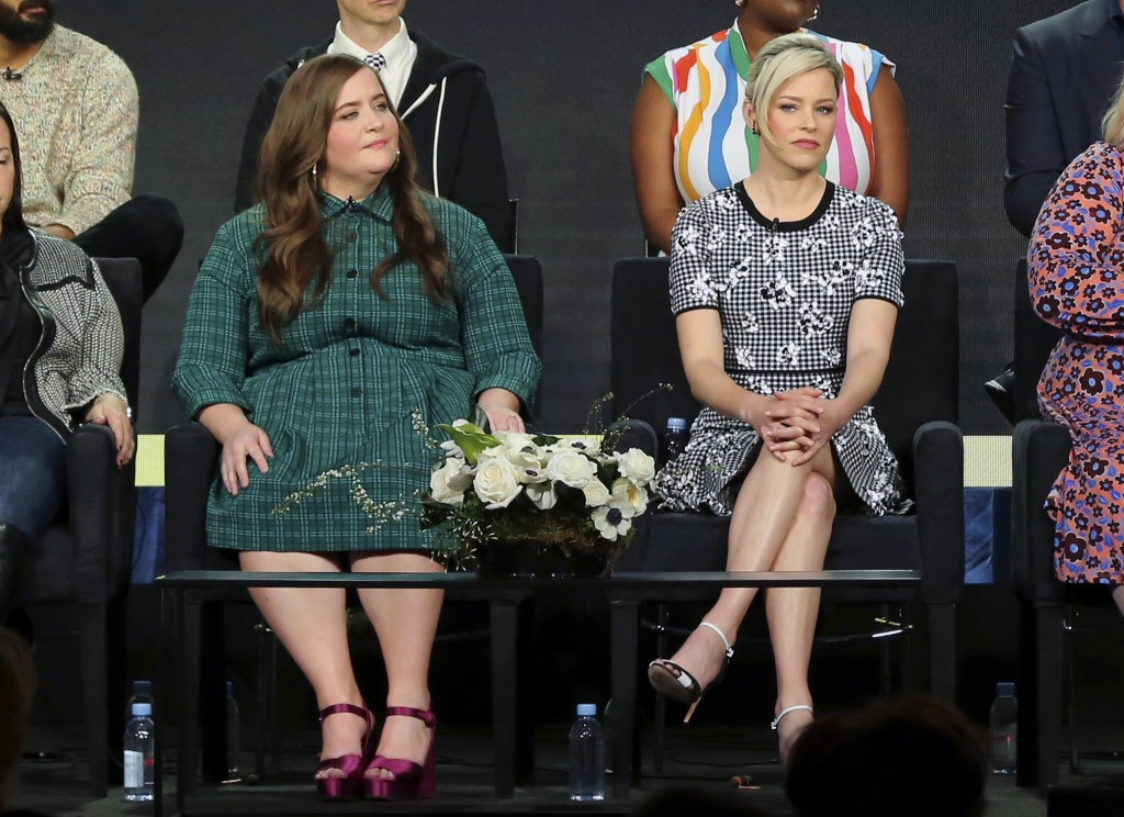 "Aidy Bryant, left, and Elizabeth Banks participate in the ""Shrill"" panel during the Hulu presentation at the Television Critics Association Winter Pre..."