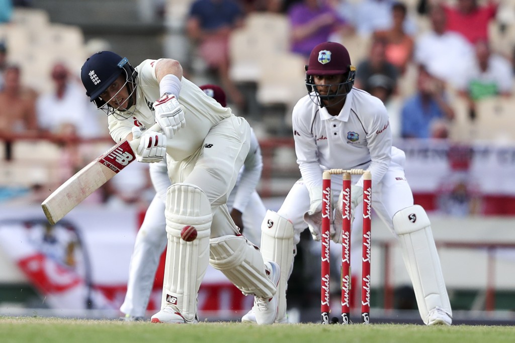 England's captain Joe Root plays a shot against West Indies during day three of the third cricket Test match at the Daren Sammy Cricket Ground in Gros