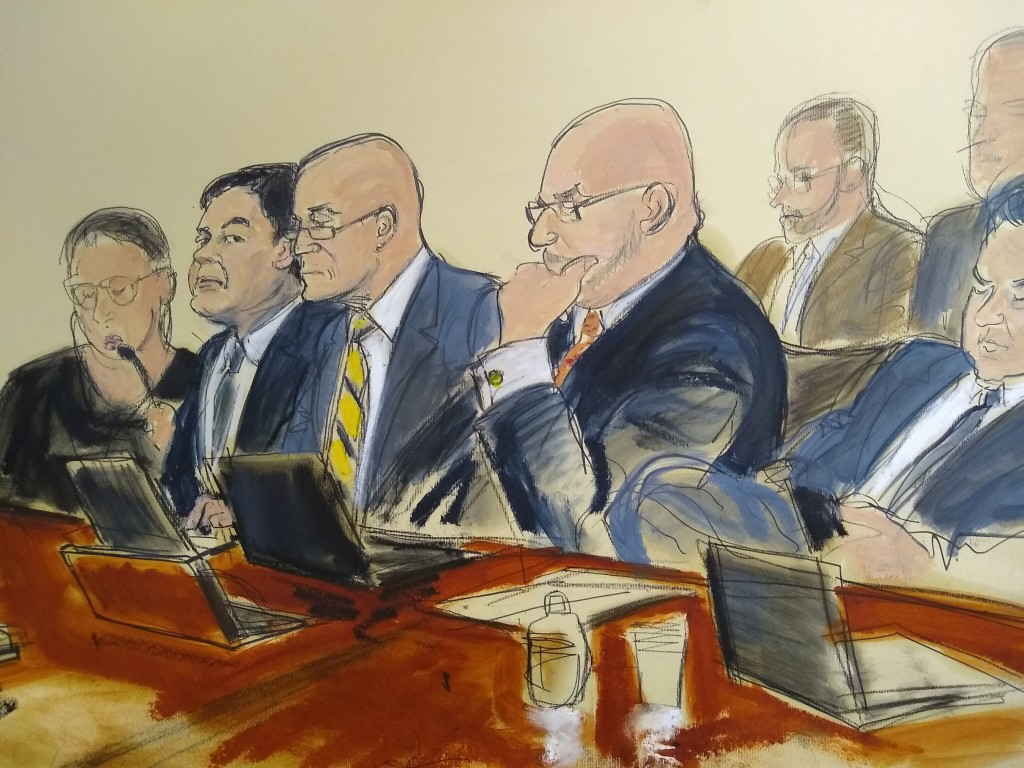 """In this courtroom drawing, Joaquin """"El Chapo"""" Guzman, second from left, seated with his defense attorneys, listens to testimony that was read back to ..."""