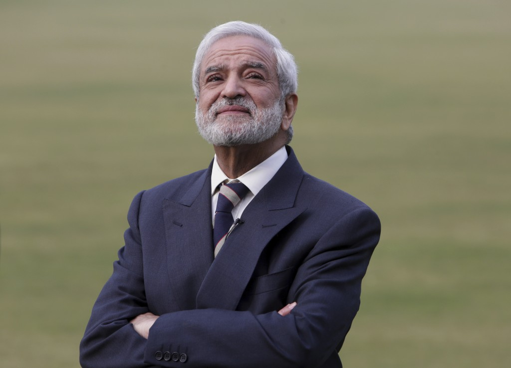 In this Feb. 10, 2019 photo, Pakistan Cricket Board chairman Ehsan Mani listens to a question during an interview with the Associated Press in Lahore,...