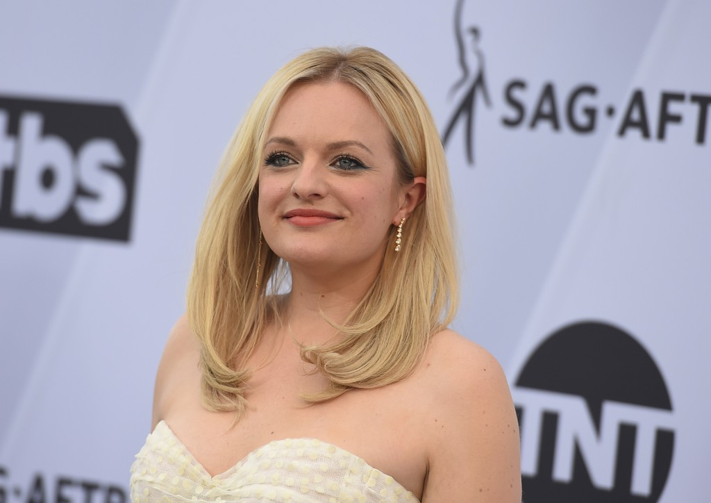 FILE - In a Jan. 27, 2019 file photo, Elisabeth Moss arrives at the 25th annual Screen Actors Guild Awards at the Shrine Auditorium & Expo Hall, in Lo...
