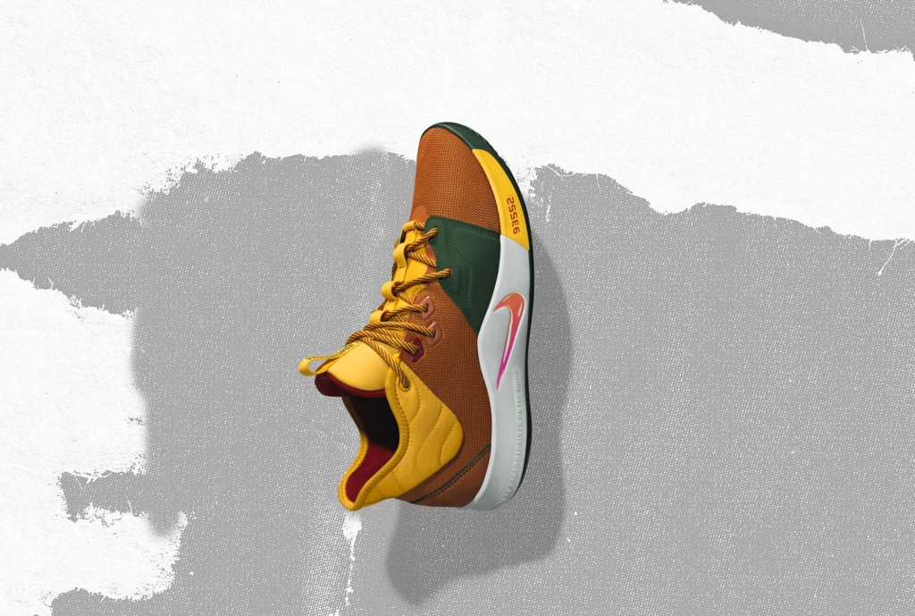 In this undated image provided by Nike, a shoe that Oklahoma City Thunder's Paul George will wear for the NBA All-Star Game is shown. The 68th NBA All
