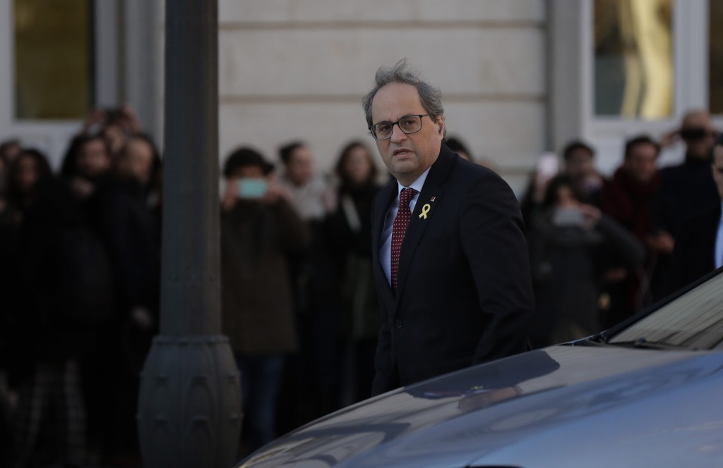 Catalan regional President Quim Torra, arrives at the Spanish Supreme Court in Madrid, Tuesday, Feb. 12, 2019. Spain is bracing for the nation's most