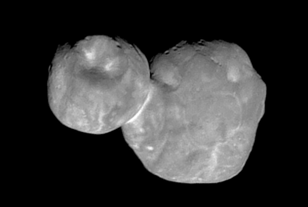 FILE- This Tuesday, Jan. 1, 2019, file image made available by NASA shows the Kuiper belt object Ultima Thule, about 1 billion miles beyond Pluto, enc...