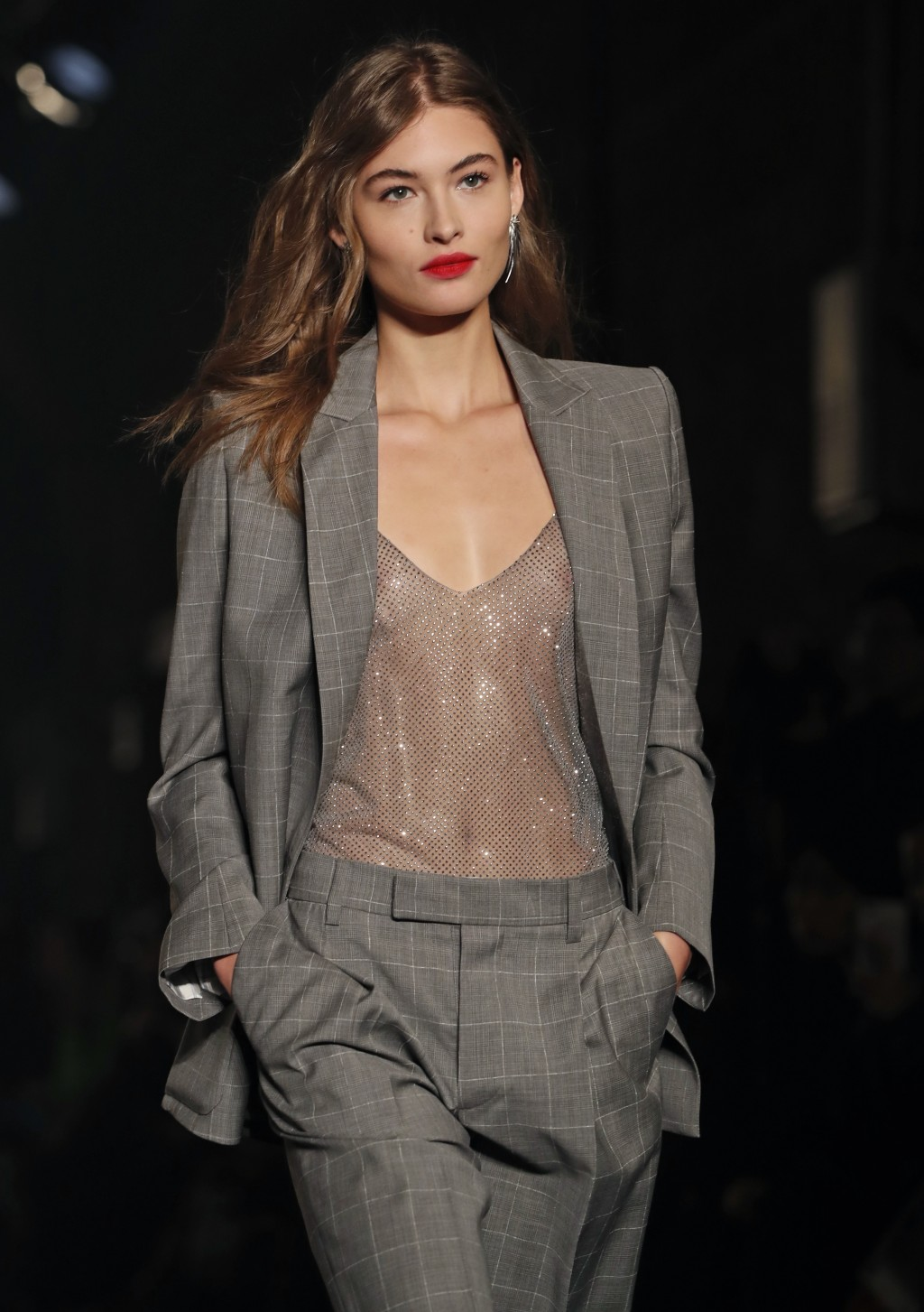 EDS NOTE: NUDITY - The latest fashion creation from Zadig & Voltaire is modeled during Fashion Week, Monday, Feb. 11, 2019, in New York. (AP Photo/Kat...