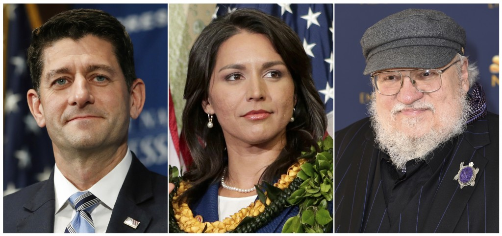 """This combination photo shows former U.S. House Speaker Paul Ryan, from left, Rep. Tulsi Gabbard of Hawaii and """"Game of Thrones"""" author George R. R. Ma..."""