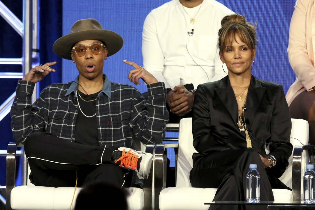 "Lena Waithe, left, and Halle Berry participate in the ""Boomerang"" panel during the BET presentation at the Television Critics Association Winter Press..."