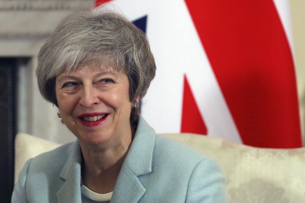 Britain's Prime Minister Theresa May holds talks with her Maltese counterpart Joseph Muscat at 10 Downing Street in London, Monday, Feb. 11, 2019. (Da...