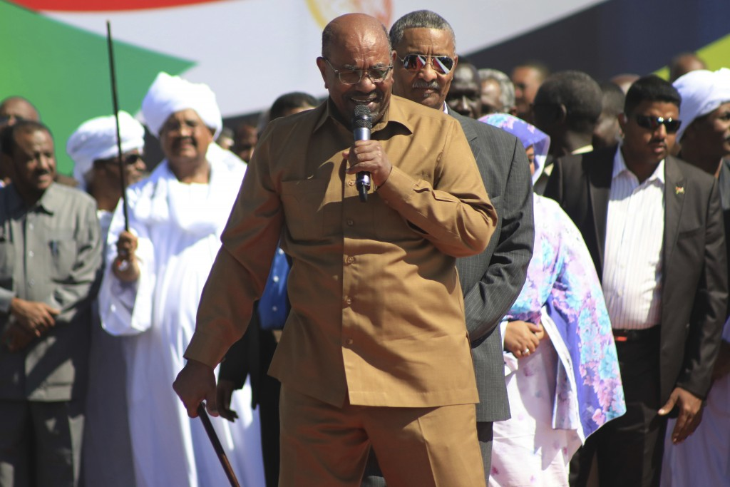 FILE - In this Jan. 9, 2019 file photo, Sudan's President Omar al-Bashir addresses supporters at a rally in Khartoum, Sudan. On Tuesday, Feb 12, 2019,