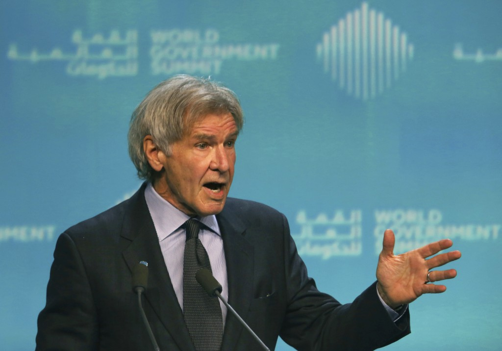 American actor Harrison Ford speaks about ocean conservation at the World Government Summit in Dubai, United Arab Emirates, Tuesday, Feb. 12, 2019. Fo...