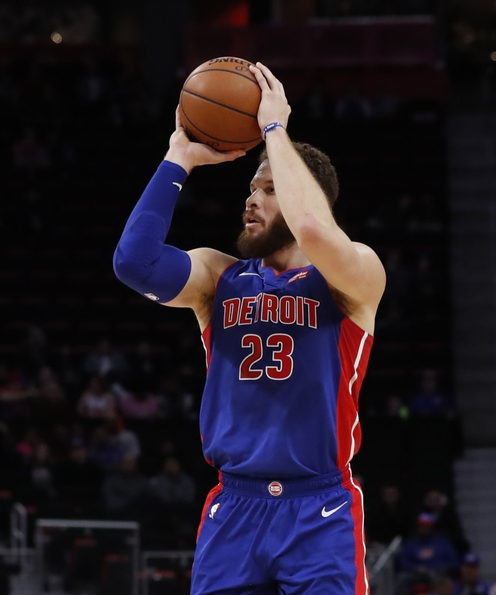 Detroit Pistons forward Blake Griffin shoots during the first half of an NBA basketball game against the Washington Wizards, Monday, Feb. 11, 2019, in...