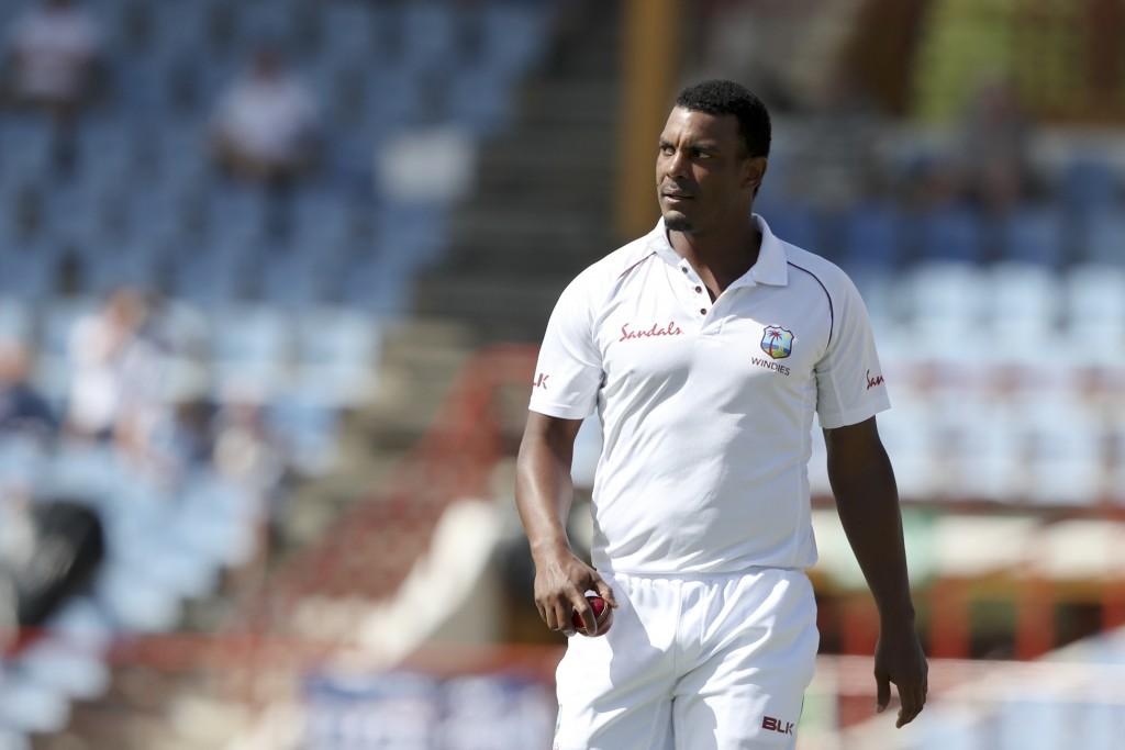 West Indies' Shannon Gabriel bowls against England during day four of the third cricket Test match at the Daren Sammy Cricket Ground in Gros Islet, St...