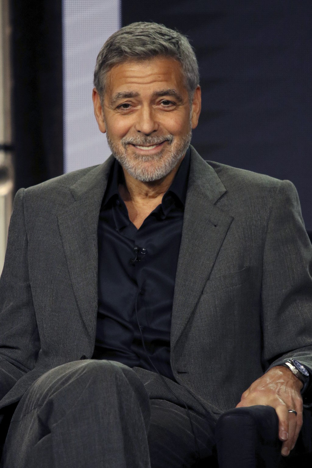 "George Clooney participates in the ""Catch-22"" panel during the Hulu presentation at the Television Critics Association Winter Press Tour at The Langha"