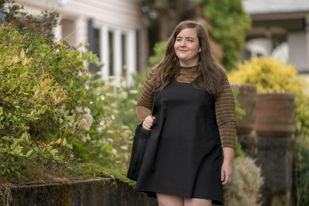 """This image released by Hulu shows Aidy Bryant in a scene from the Hulu series, """"Shrill."""" The six-part comedy is based on Lindy West's memoir, """"Shrill:..."""