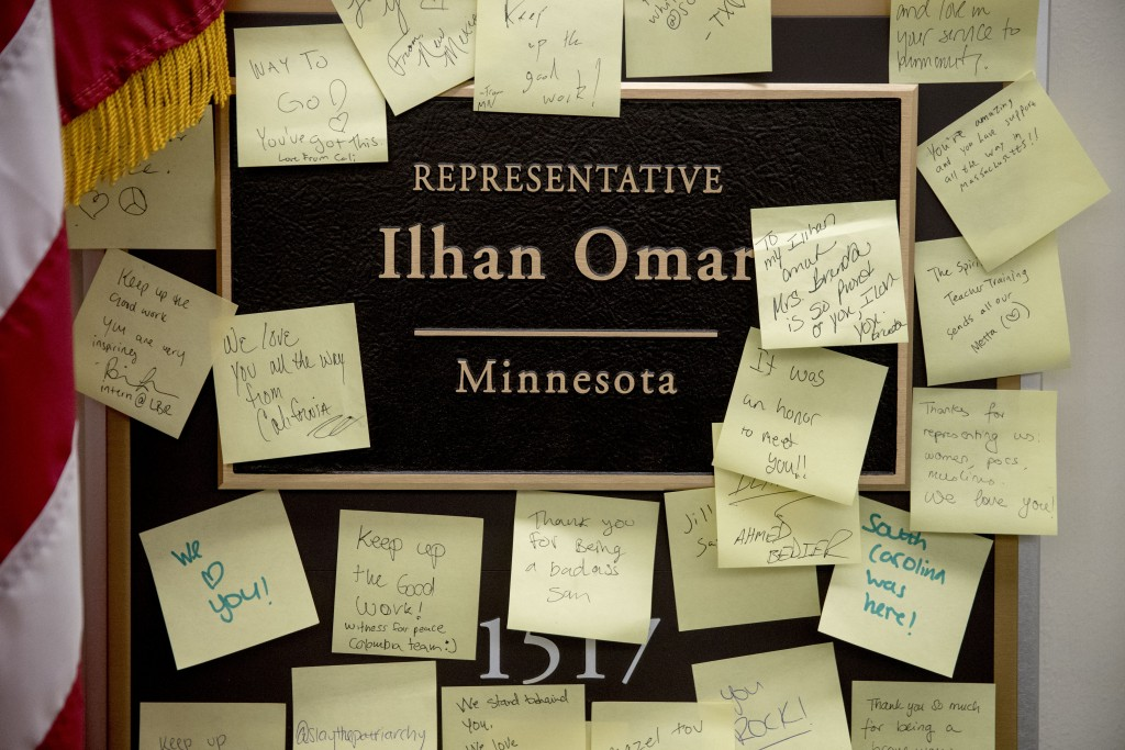 People leave post-it notes of support outside the office of Rep. Ilhan Omar, D-Minn., on Capitol Hill, Monday, Feb. 11, 2019, in Washington. Omar has ...