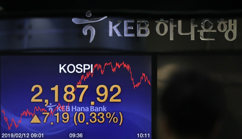 The screen shows the Korea Composite Stock Price Index (KOSPI) at the foreign exchange dealing room in Seoul, South Korea, Tuesday, Feb. 12, 2019. (AP...
