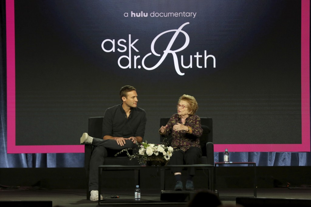 "Ryan White, left, and Dr. Ruth Westheimer participate in the ""Ask Dr. Ruth"" panel during the Hulu presentation at the Television Critics Association W"