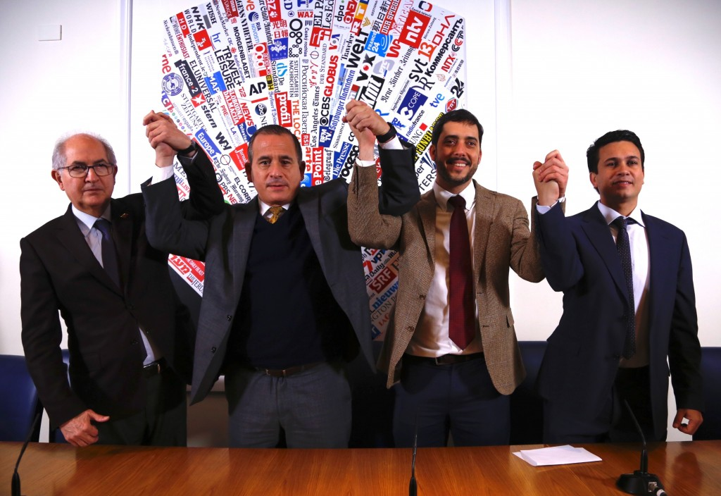 Members of the delegation representing Venezuelan opposition leader Juan Guaido from left, Antonio Ledezma, former mayor of Caracas, Francisco Sucre, ...
