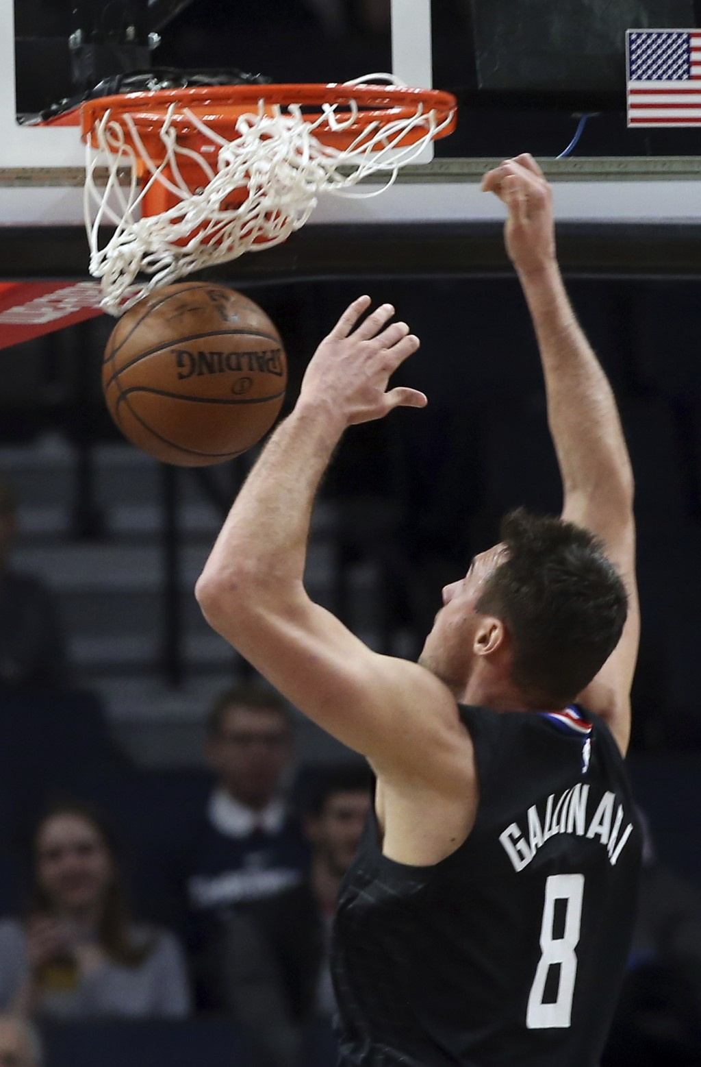 LA Clippers' Danilo Gallinari dunks against the Minnesota Timberwolves in the first half of an NBA basketball game Monday, Feb. 11, 2019, in Minneapol