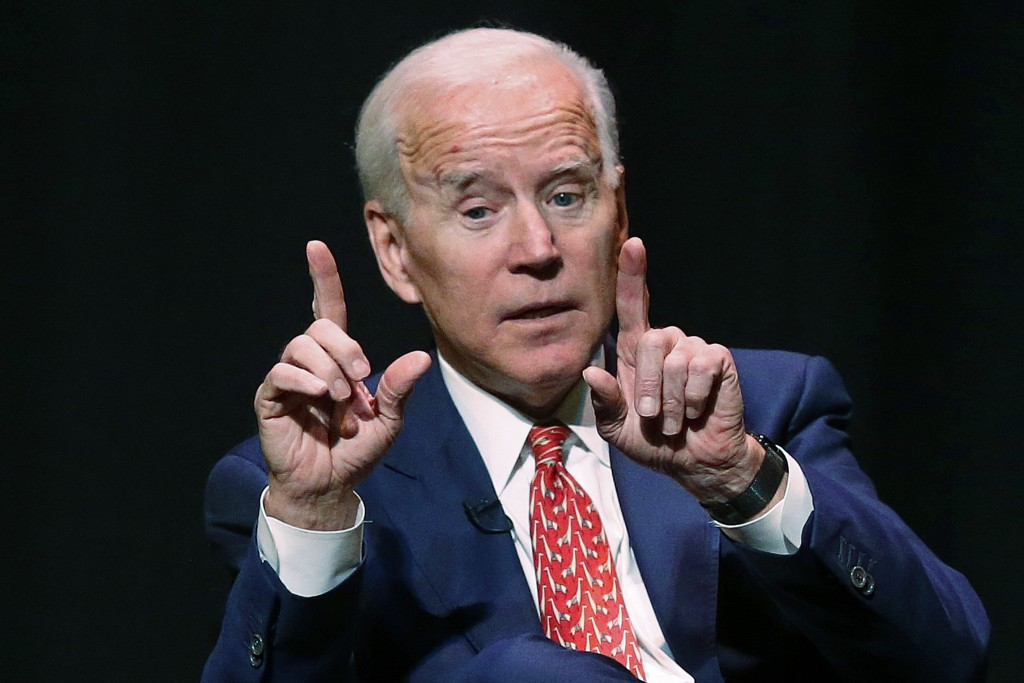 FILE - In this Dec. 13, 2018 file photo, former Vice President Joe Biden speaks at the University of Utah in Salt Lake City. Biden has been conspicuou...