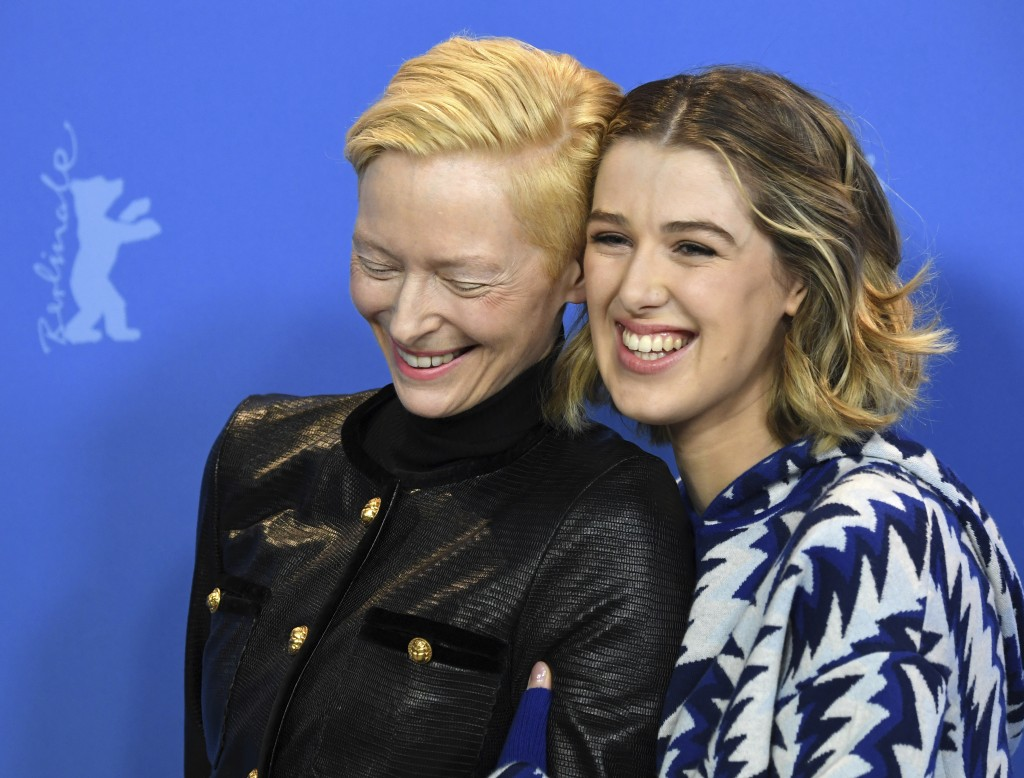 Actress Tilda Swinton, left, and actress Honor Swinton Byrne, right, pose for photographers during the photo-call for the film 'The Souvenir' at the 2...