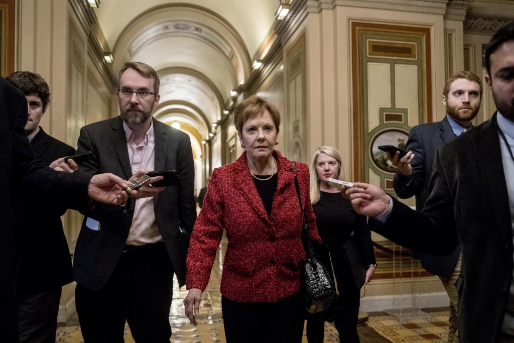 Rep. Kay Granger, R-Texas, ranking member of the House Appropriations Committee, speaks to reporters as she arrives for a closed-door meeting at the C...