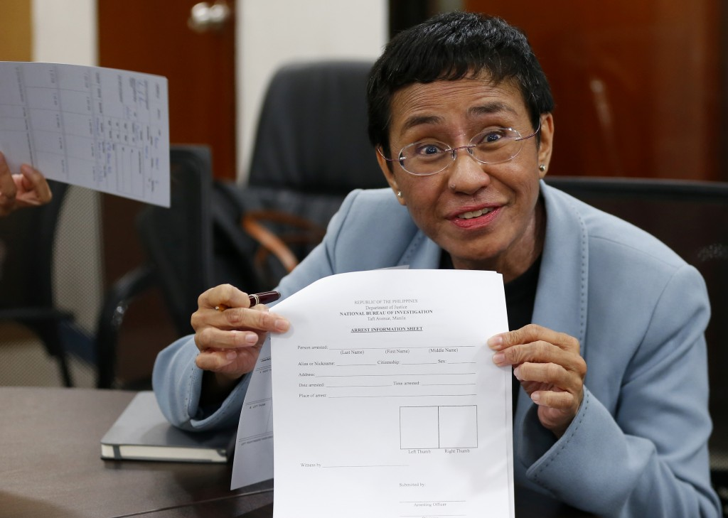 Maria Ressa, the award-winning head of a Philippine online news site Rappler that has aggressively covered President Rodrigo Duterte's policies, shows